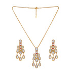 Fashion 24KT Gold Plated Kundan Traditional Pendant Jewellery Set with Earrings