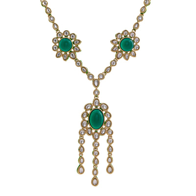 Traditional Gold tone Emerald Kundan Kali Necklace