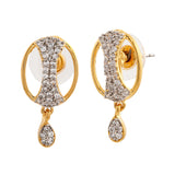 Estele Gold Plated Star and Moon American Diamond Earrings for Women