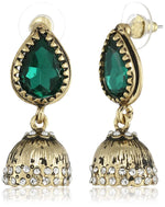 24Kt Gold Plated Emerald pearl Jhumkas