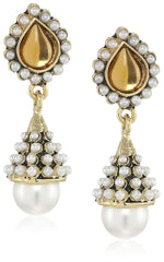Traditional 24Kt Gold Plated Pearl amber Jhumkis