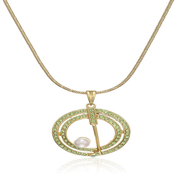 Estele gold plated  tone green stone golf stick and pearl ball pendant for women