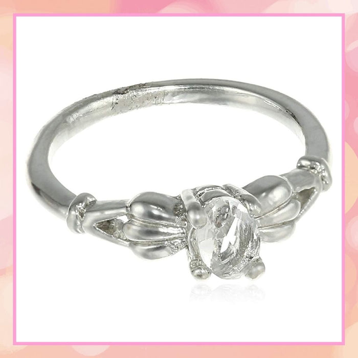 Estele Silver Rhodium Plated Elegant Austrian Crystal Adjustable Ring for Women( non adjustble)