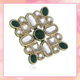 Estele Gold plated white polki kundan stones with green beads for women( non adjustable)