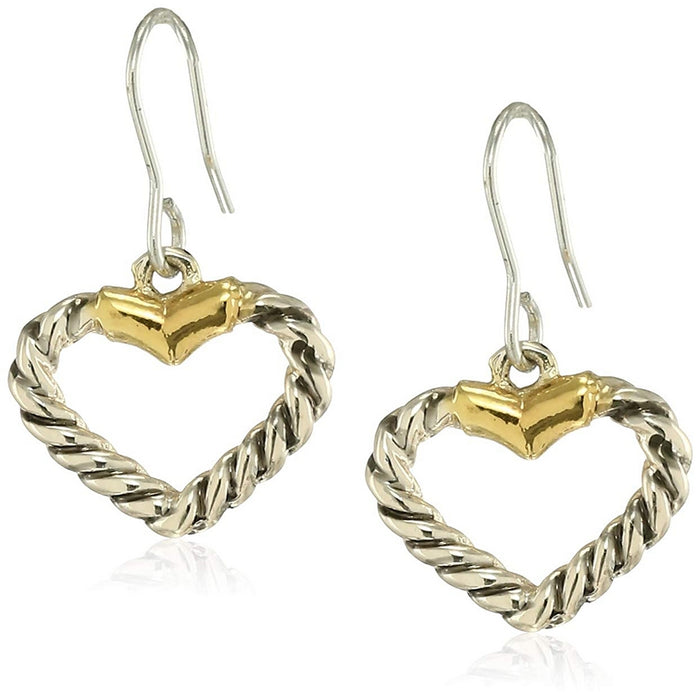 Estele 24 Kt Oxidised gold and silver plated Rope Heart  Drop Earrings