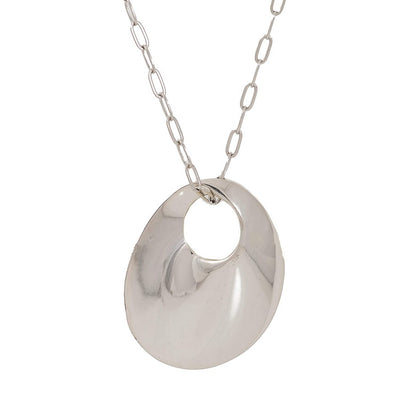 ESTELE RHODIUM plated   chain with holographic silver circle pendant