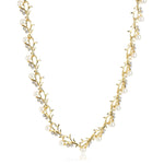 Gold Tone Plated White Crystl Stone Necklace With Earrings