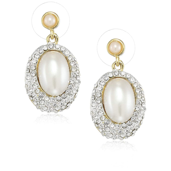 Estele  Gold Plated Oval frosted pearl Drop Earrings for women