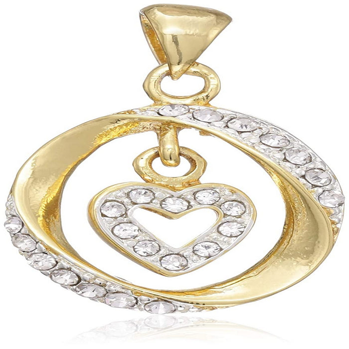Estele gold tone  only pendant with a circle and heart shape for women