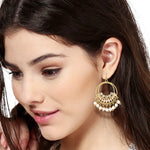 Round Hoops With White Beds Drop earrings