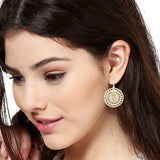 Gold Plated Round Drop Hoop Earrings