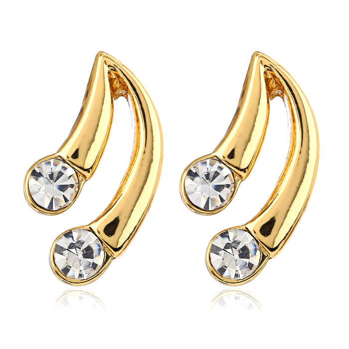 Small Stud Earrings With White Crystal Stone