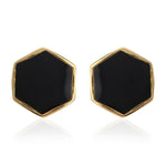MY HEART OF BLACK HEXAGON ENAMEL EARRING