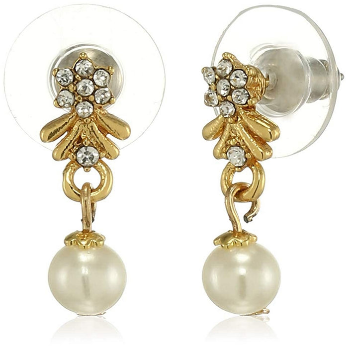 Estele 24 Kt Gold Plated Flower Damask Top Pearl Drop Earrings for women