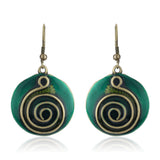 Green Enamel Round Hoop Earrings