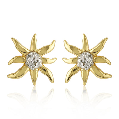 Star Shaped Stud Earrings With White Crystal Stone