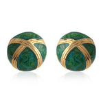 PRETTY EMERALD GREEN ENAMEL ROUND STUDS