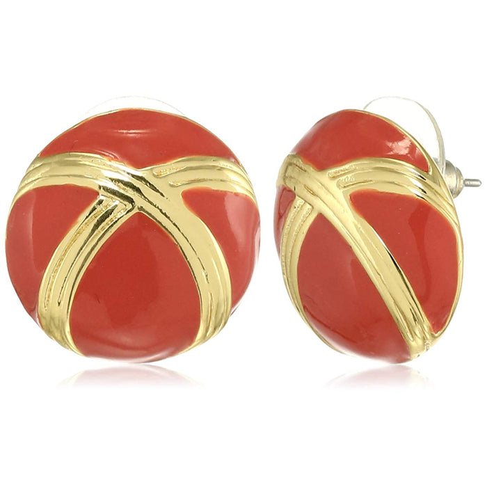 Estele PRETTY EMERALD RED ENAMEL ROUND STUDS