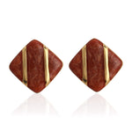 RED ENAMEL SQUARE STUDS
