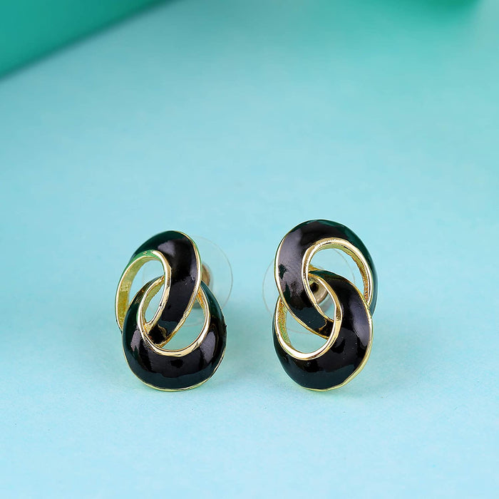Estele Gold plated and  black round latest studs for women