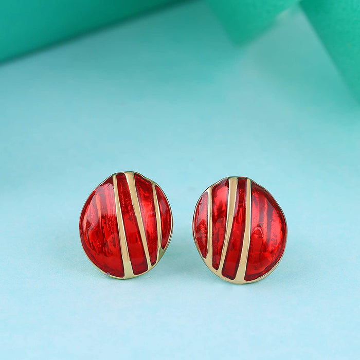 Estele Non-Precious Metal  Gold Plated Red pebble pinstripe Stud Earrings for women