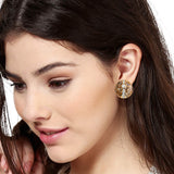 Estele  Gold Plated Brass Stud with Grey Colour Enamel and White Crystal Stone Earrings for Women