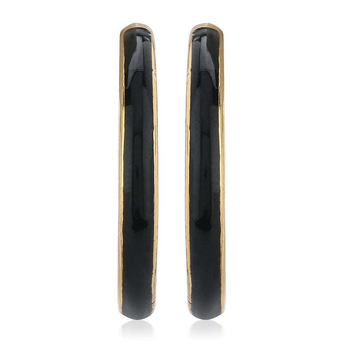 Black Enamel Studs Earrings
