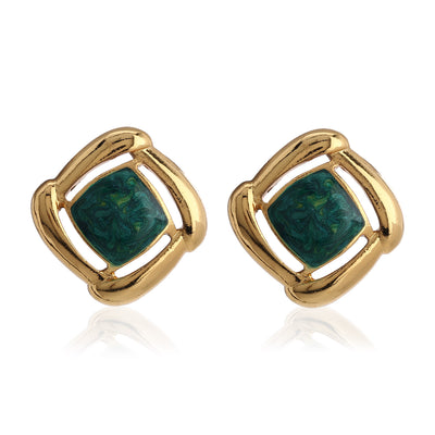 Gold With Green Enamel  Earrings