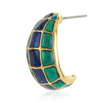 Gold Plated Blue & Green Enamel Stud Earrings