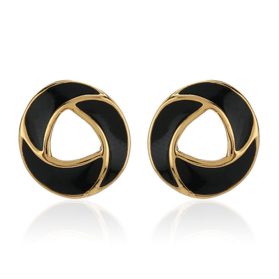 Black Enamel Stud Earrings