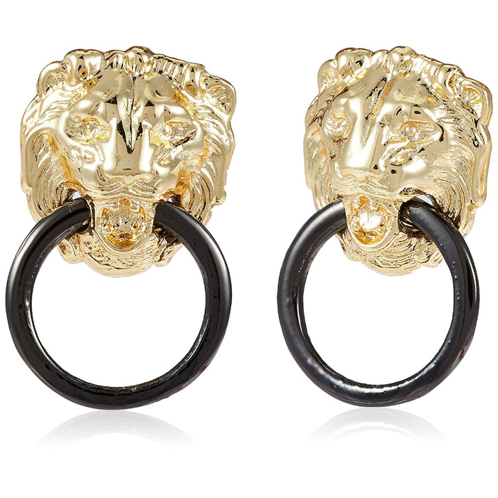 Estele  Gold Plated Designer Lion black ring Stud Earrings for women