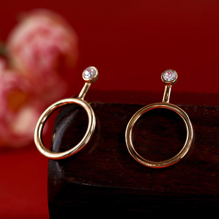 Estele Non-Precious Metal Gold Stylish Circular Design Hoop Earrings for Girls/Womens