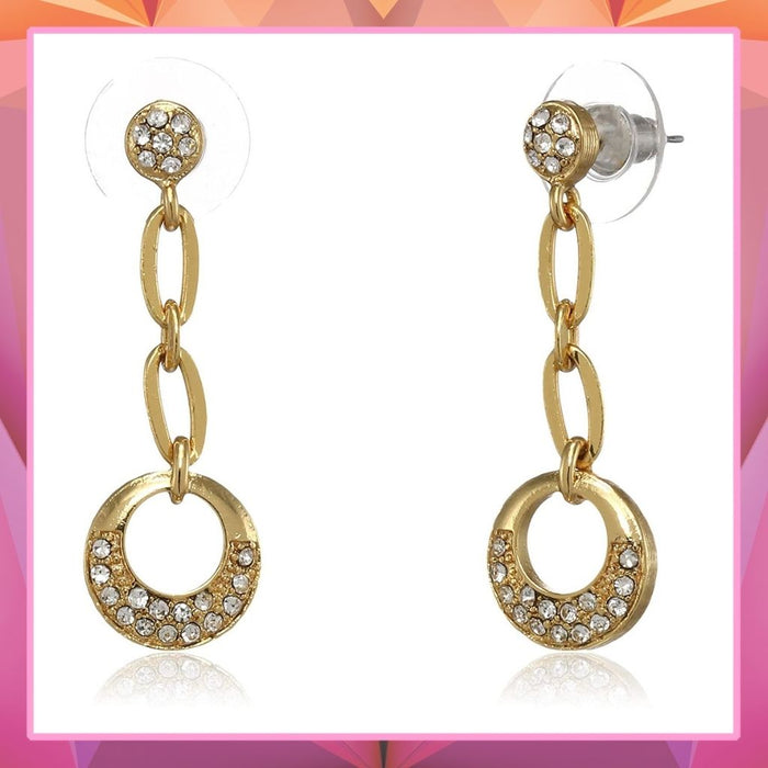 Estele  Gold Plated Chained Circle Dangle Earrings for women