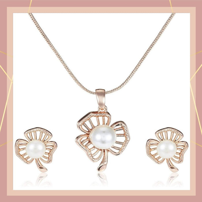 Estele 24 Kt Rose Gold Plated Pearl Leaf Chain Necklaces for women