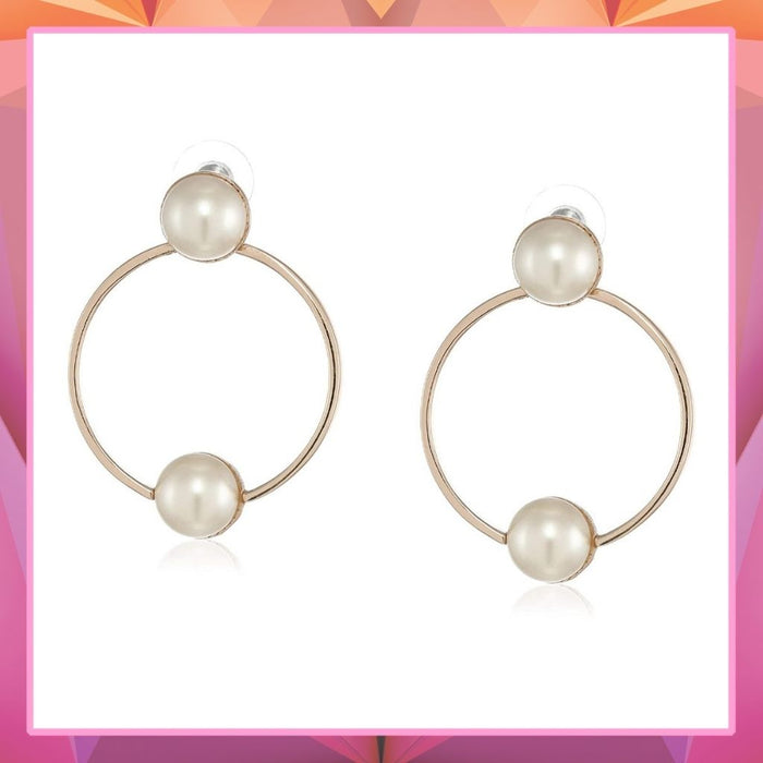 Estele  Rose Gold Plated Bold Ring Pearl studded Earrings for women