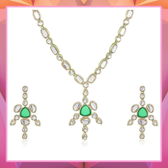 Estele 24 Kt Gold Plated GREEN RUBY  Chain Necklaces