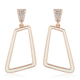 ROSE GOLD WITH WHITE ENAMEL HEXAGON DANGLERS