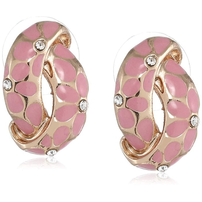 Estele  Gold Plated Earrings With Green Coloured Flower Print For Women