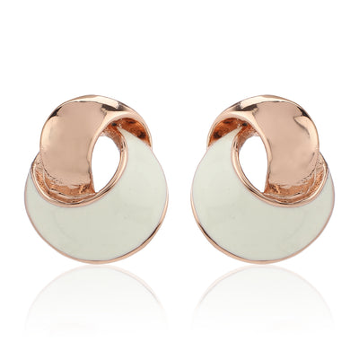 Rose Gold White Enamel stud Earrings