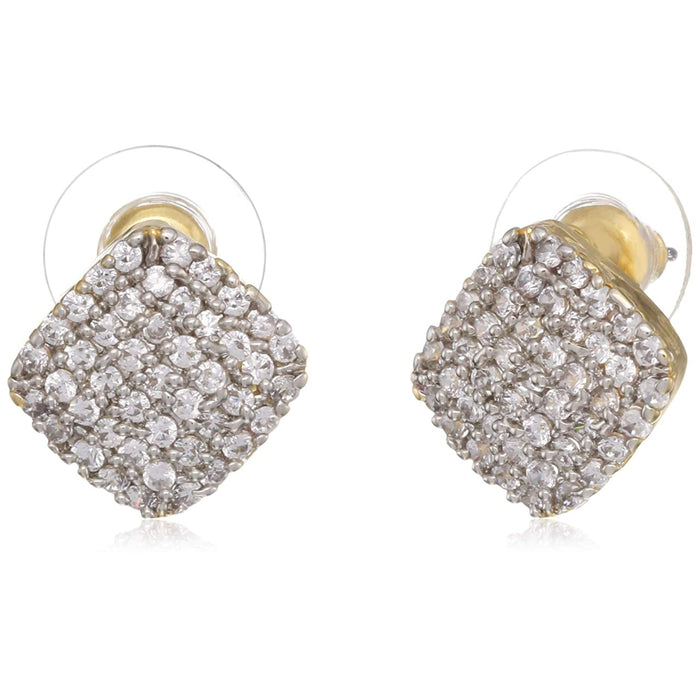 Estele Gold and Silver Plated American Diamond Square Calotropis Stud Earrings for Women,