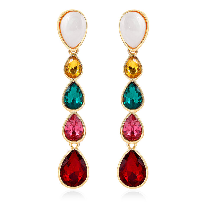 Multicolour Gemstone Crystals Drop Earrings