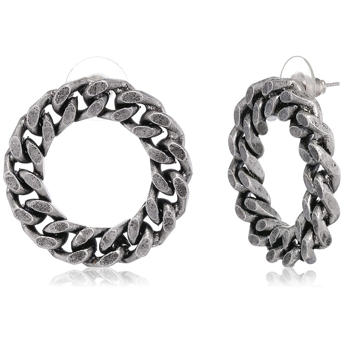 Estele Oxidized Silver Plated Designer Chain mail hoop Stud Earrings  for women