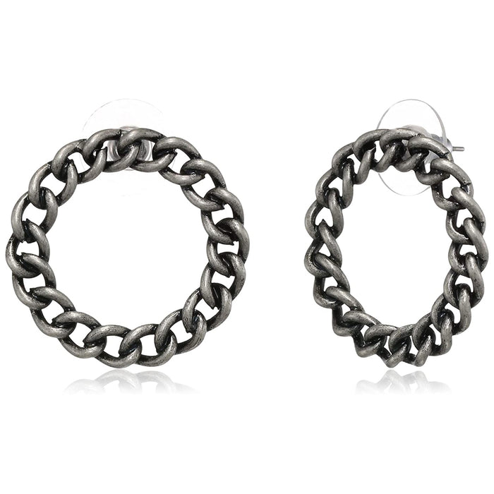 Estele silver oxidised circle trendy earring studs for women