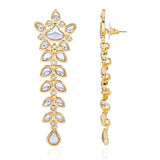 Floral Mirror Kundan Dangle And Drop Earrings