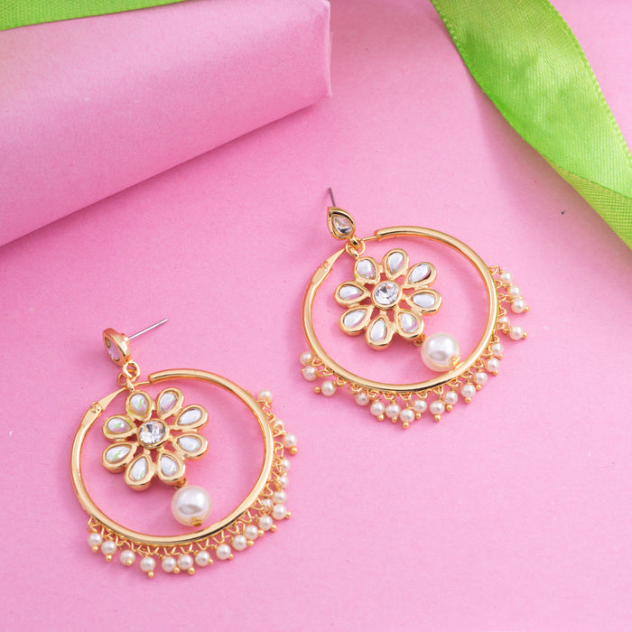 24K Gold Plated Traditional Bali Stud Hoop Earrings
