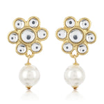 Flower Shaped Pearl Drop Earrings