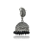 Oxidised  Black Beads Jhumki
