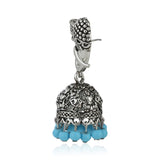 Oxidised Blue Beads Jhumki