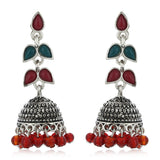 Red colour pearl drop Jhumka Earrings