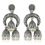 Oxidized Crafted Long Jhumka Earrings